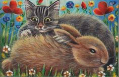 Bunny & Kitten Easter Spring Painting #Realism