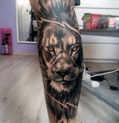 Leg Sleeve Lion Tattoo Designs For Guys #ad