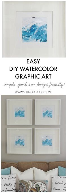 No painting involved! Easy DIY Watercolor Wall Art - see how quick these are to make and hang in a gallery wall!| www.settingforfour.com