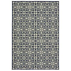 Havenside Home Lindhurst Two-Tone Tile Pile Indoor/ Outdoor Area Rug - x x - Navy/Ivory), Blue, Style Haven Polypropylene Rugs, Indoor Outdoor Area Rugs, Outdoor Living, Colorful Rugs, Rug Size, Neutral Palette, High Contrast, Egypt, Navy Style
