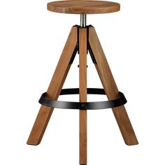 rig acacia adjustable barstool in dining chairs, barstools | CB2