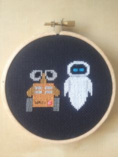 PATTERN Cross Stitch Disney Walle and Eve