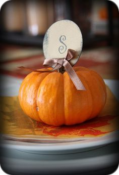 Mini Pumpkin Initial Place Cards