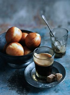 Cafe Style - Demitasse Espresso w/ Brown Sugar Cubes and Petite Custard Filled Pastries