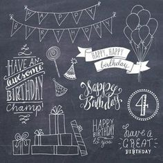 Happy Birthday Clip Art Set // Hand Lettering Word Art // Photoshop Brush PSD Vector // DIY Card // Girl Boy Party // Commercial Use - Trend Entertaining Ideas 2019 Chalkboard Banner, Chalkboard Lettering, Chalkboard Designs, Chalkboard Walls, Chalkboard Drawings, Chalkboard Ideas, Happy Birthday Clip Art, Birthday Clips, Art Birthday