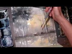 Hedwig's Art watercolor sunset with trees, tutorial real time. Watercolor Beginner, Watercolor Video, Watercolor Sunset, Watercolor Painting Techniques, Watercolor Trees, Watercolor Artwork, Watercolor Portraits, Watercolor Landscape, Simple Watercolor