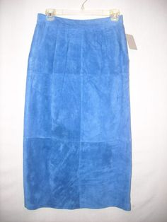 The Eagle's Eye royal blue 100% silky pig suede skirt size 8 #TheEaglesEye #ALine