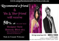 recommend a friend & you & your friend will receive 50%off next deisigner style cut & blowdry Blow Dry, How To Apply, How To Make, Conditioner, Hair Cuts, Hairstyle, Amp, Studio, Haircuts