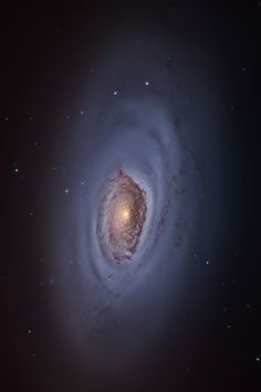 #M64 is a spiral galaxy known as the #BlackEyeGalaxy because of a spectacular dark band of absorbing dust in front of the nucleus, which apparently appears as a great spot. With an apparent magnitude of 8.8, you can be glimpsed with good binoculars on dark nights, appearing as a slightly irregular patch of dim light. The galaxy is in the #ConstellationComaBerenices
