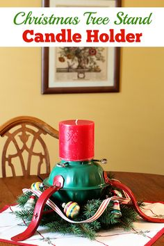 Holiday candle holder repurposed from a Christmas tree stand makes a cute and unique DIY centerpiece! via houseofhawthornes.com