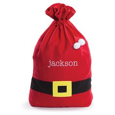 This cute personalized Santa Claus Sack from Personalized Planet is the perfect way to present gifts on Christmas morning. Make this sack special for you and your family by adding a name to it for a custom look. Christmas Bags, Christmas Gift Wrapping, Christmas Stockings, Christmas Crafts, Xmas, Santa Christmas, Rustic Christmas, Personalised Santa Sacks, Personalized Baby