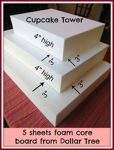 Crafty in Crosby: Make Your Own Cupcake Tower from 5 sheets of foam core from d. Crafty in Crosby: Make Your Own Cupcake Tower from 5 sheets of foam core from dollar store Cake And Cupcake Stand, Cupcake Display, Cupcake Cakes, Cupcake Towers, Cupcake Table Displays, Cupcake Stands For Weddings, Cake Stands Diy, Wedding Cupcake Table, Diy Wedding Cupcakes