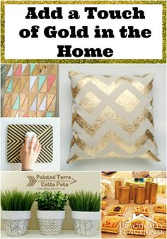 I am loving the trend of gold in home decor! Add a touch of gold to your home with these gold home projects!