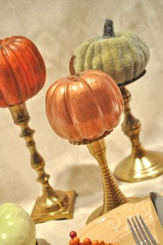 """Pumpkins on gold candlesticks. I need to create a board just for FALL/AUTUMN. I feel if I have lived through another """"summer in the south"""" this new season is my reward."""