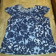 Print top Blue and black silky top with flowy cap sleeves RQT Woman Tops Blouses