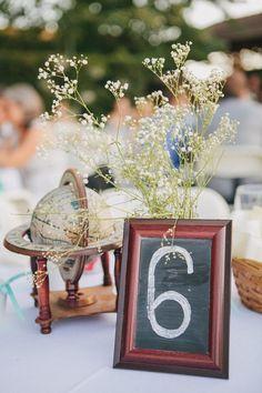 Wedding, centerpiece, vintage wedding, travel themed wedding #GardnerEffect #ColoradoWedding #DenverWedding