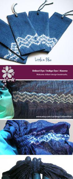 Shibori dye / natural indigo dye / Japanese shibori; aizome / tie dye book accessory, stationary accessory Mokume shibori design natural indigo bookmarks by Little m Blue.