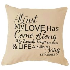 Etta James At Last Song Lyrics Cushion Great For your Sofa Perfect Gift For Him / Her