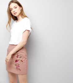 Pink Floral Bird Embroidered Mini Skirt