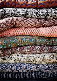 Danish Block Print Cotton Mattress available in a Choice of Prints - The Forest & Co. Textiles, Textile Patterns, Rose Bowl Flea Market, Deco Boheme, House Doctor, Chair Cushions, Pillows, Green Cushions, Home Textile