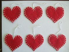 Christmas Red Glitter Felt Heart Ornaments 6 piece by itsCRAFTtime, $3.00