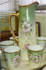 Antique Chocolate Pitcher/Teapot Set+cups+Tray Floral Jean Pouyat JPL France