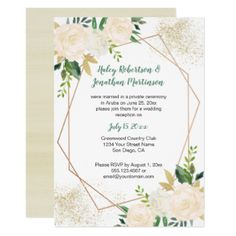 Cream White Gold Roses Geometric Reception Only | Card