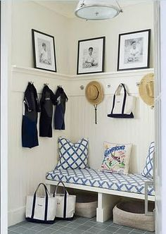 Haus and Home: Mudroom, personalized llbean bags for organization