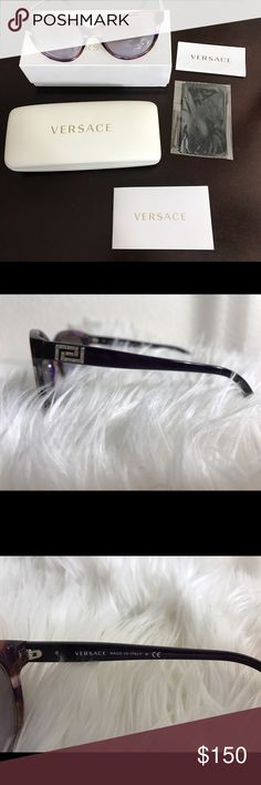 Versace women's sunglasses in perfect condition This a pair of authentic Versace sunglasses, it is purple with silver details. It comes in the original box, case unopened duster and original papers that came in the box. I just no longer wear it, it is like new. Versace Accessories Sunglasses