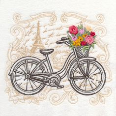 Parisian Bicycle with Flowers design (M17381) from www.Emblibrary.com Free  Machine 37aa264c4