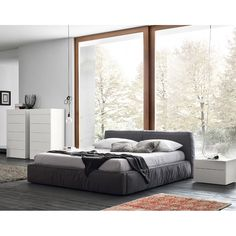 141a2b39f14e Twist Dark Grey Upholstered Bed by Rossetto, Made in Italy. Soft Grey and Dark  Grey.