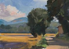 daily painting titled Road through summer fields - click for enlargement