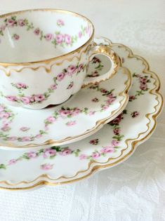 Antique Limoges France Theodore Haviland Tea Cup, Saucer & Plate Tea Party  Ca. 1904 - 1920's