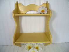 Vintage Happy Yellow Enamel Wooden Display Shelf - Retro Shabby Chippy Paint Cottage Style Storage - 2 Shelves Wall Hanging Organizer Unit $56.00 by DivineOrders