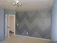 21 - nursery progress in pics - painting grey chevron stripes on an accent wall2
