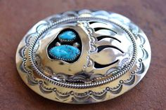 Navajo Silver Turquoise Bear Paw Belt Buckle