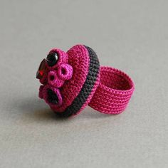 coral crochet ring