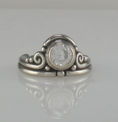 Lovely 14k White Gold Moissanite ring 1 of a by DenimAndDiaJewelry, $740.00