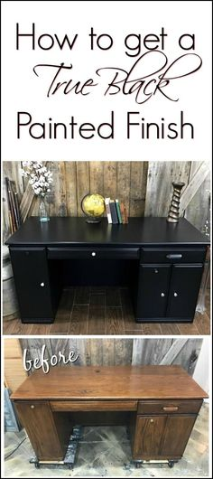 A Modern Painted Desk Makeover Shows How To Get A True Black With Non Toxic  Chalk Style Paint