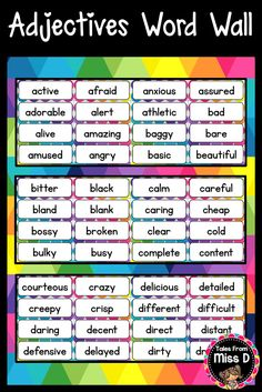Help students develop their vocabulary by displaying this Adjectives Word Wall in your classroom. Instead of using basic words, students can integrate these adjectives into their writing. Includes 213 words, plus blank cards to add your own. © Tales From Miss D