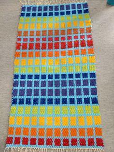 Matto 127x68cm. Sininen trikookude ja muut rämäkuteet. tietokonekangaspuilla tehty näyttötyö. Toinen puoli Beach Mat, Outdoor Blanket