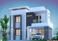 Modern Houses Discover 1800 square feet 3 bedroom elegant double storied house 1800 square feet 3 bedroom elegant looking double storied house plan by Dream Form from Kerala. Modern Exterior House Designs, Modern Small House Design, Simple House Design, House Front Design, Exterior Design, Bungalow Exterior, 2 Storey House Design, Duplex House Design, Duplex House Plans