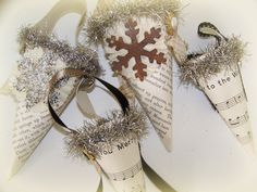 Handmade Christmas Ornaments Victorian Paper Cone Winter White Christmas Antique Paper Tussie Mussie. $20.00, via Etsy.