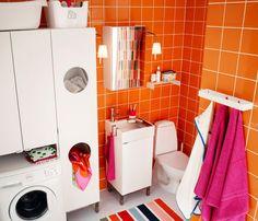 Kleines Badezimmer Mit LILLÅNGEN Wäscheschrank, LILLÅNGEN  Waschmaschinenschrank, LILLÅNGEN Waschkommode Mit 1 Tür Und LILLÅNGEN