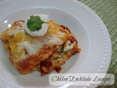 Chicken Enchilada Lasagna. Instead of cilantro and onion added to the cream cheese I added 1 cup of chunky salsa.