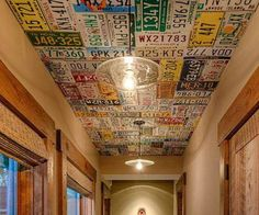 License plates as ceiling (perfect reuse, recycle idea) Game room, basement License Plate Crafts, License Plate Art, License Plate Ideas, Old License Plates, Design Garage, Man Cave Garage, Man Cave Basement, Cool Ideas, Art Ideas