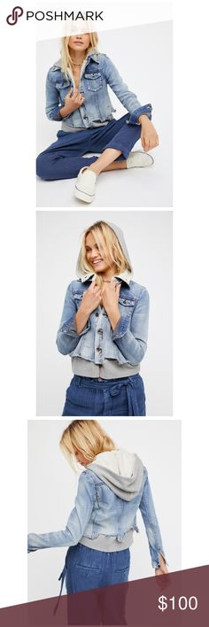 """Free People Weave Denim Jacket Double layered denim jacket featuring the top layer with distressed detailing, a raw hem, and button closures down the front. Soft cotton under layer with a hood and snap closures. Casual and cool, this jacket is super comfy.  SOLD OUT AT FREE PEOPLE. Reasonable offers welcome! NO TRADES,  100% Cotton Machine Wash Cold  Measurements for size Small Bust : 38"""" = 96.52 cm Length: 23.75"""" = 60.33 cm Sleeve Length: 25.5"""" = 64.77 cm Free People Jackets & Coats Jean…"""