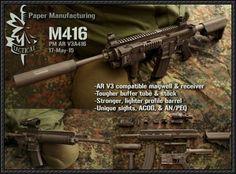 Heckler & Koch HK416 (M416) Assault Rifle Free Paper Model Download - http://www.papercraftsquare.com/heckler-koch-hk416-m416-assault-rifle-free-paper-model-download.html