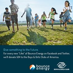 """This January, we will be donating $2,500 to this fine organization as well as giving 50 cents for every brand new """"Like"""" we receive on Facebook and new follower we gain on Twitter. Click here to read more: http://www.bounceenergy.com/blog/2014/01/bounce-energy-begins-2014-supporting-boys-girls-clubs-america/"""