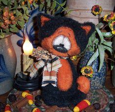 """Primitive Halloween Black Fuzzy Witch Cat Bear 6"""" Doll Vtg Patti's Ratties Ornie"""